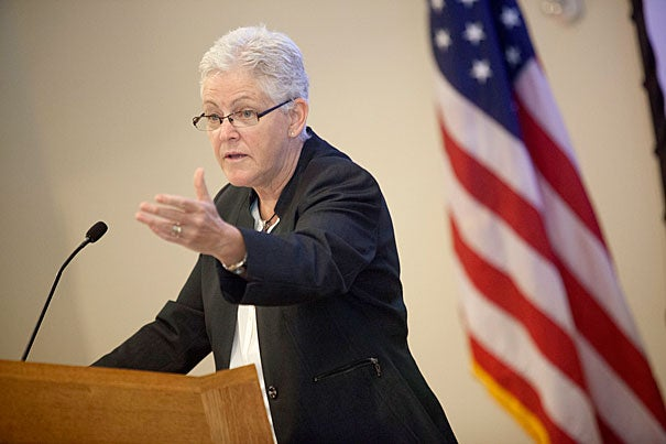 """Climate change will not be resolved overnight, but it will be engaged over the next three years; that I can promise you,"" said EPA Administrator Gina McCarthy at Harvard Law School. This was McCarthy's first public policy speech since her July 19 confirmation."