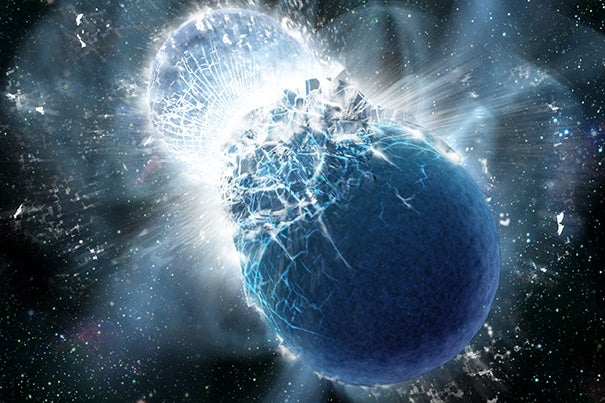This artist's conception shows two neutron stars at the moment of collision. All Earth's gold likely came from colliding neutron stars.