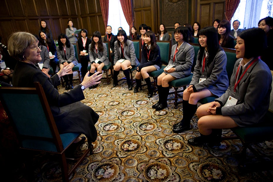 Drew Faust visits Keio Girls Senior High School