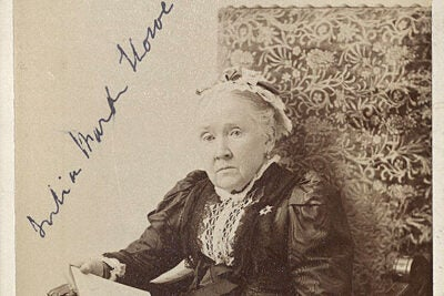 "Abolitionist Julia Ward Howe, who wrote ""The Battle Hymn of the Republic"" in 1861, posed for this Boston portrait around 1909 (photo 1). An 1836 almanac entry noted the Aug. 1 abolition riot that rescued two fugitive slaves from a Boston courtroom (photo 2). An 1863 Currier & Ives print celebrated Boston's 54th Massachusetts, the first regiment of northern blacks, whose service illustrated the social tumult caused by the Civil War (photo 3)."
