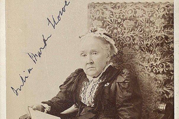 """Abolitionist Julia Ward Howe, who wrote """"The Battle Hymn of the Republic"""" in 1861, posed for this Boston portrait around 1909 (photo 1). An 1836 almanac entry noted the Aug. 1 abolition riot that rescued two fugitive slaves from a Boston courtroom (photo 2). An 1863 Currier & Ives print celebrated Boston's 54th Massachusetts, the first regiment of northern blacks, whose service illustrated the social tumult caused by the Civil War (photo 3)."""