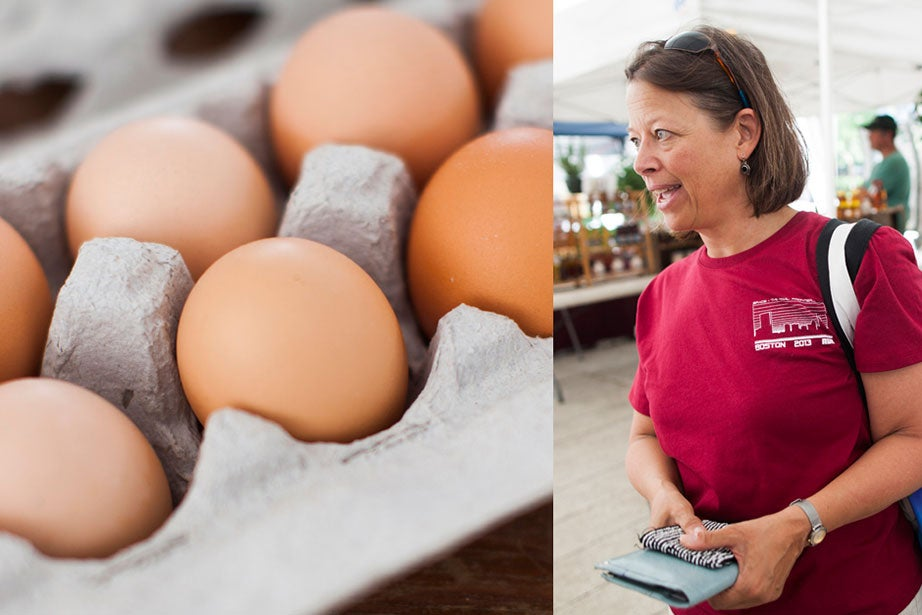 """""""I don't know if you've ever had fresh eggs before, but they're really different. I like to scramble them with vegetables and cheese or make an omelet,"""" said Susan Viglione, a senior project manager for Harvard Planning and Project Management. Fresh eggs weren't all Viglione had stuffed in her reusable bag; she also had squash, snap peas, and spinach (""""I like to eat it raw or sautéed in a little garlic"""")."""