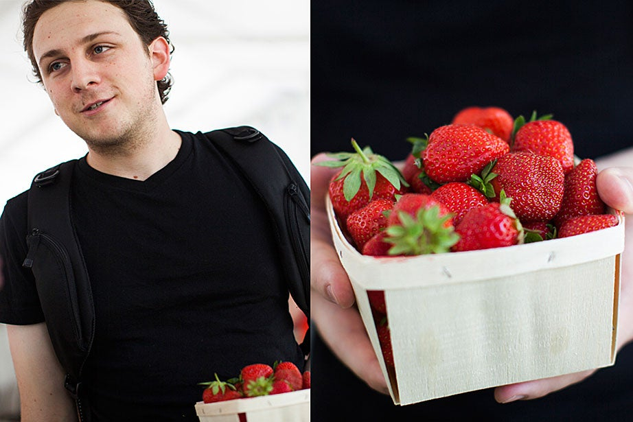 "Graduate School of Design student George Gard picked this carton of strawberries for classic strawberry shortcake. ""Sometimes I use Bisquick for the shortcake, but I have been known to make my own. We'll see how inspired I am."""