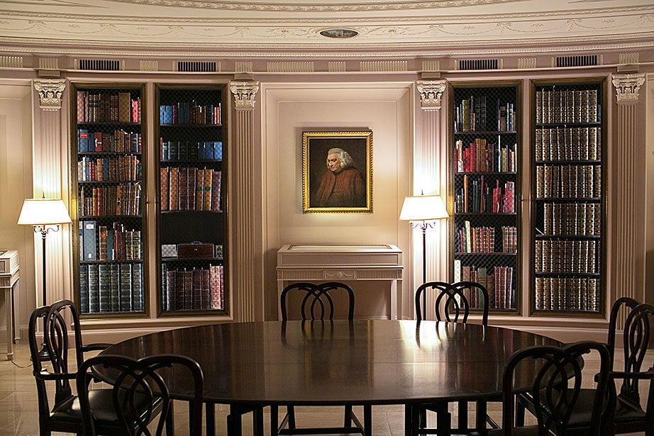 A portrait of Samuel Johnson by John Opie hangs in the Hyde Room.