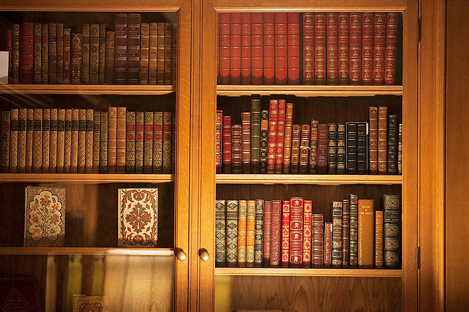 Ornately decorated books are shelved in the Richardson Room.