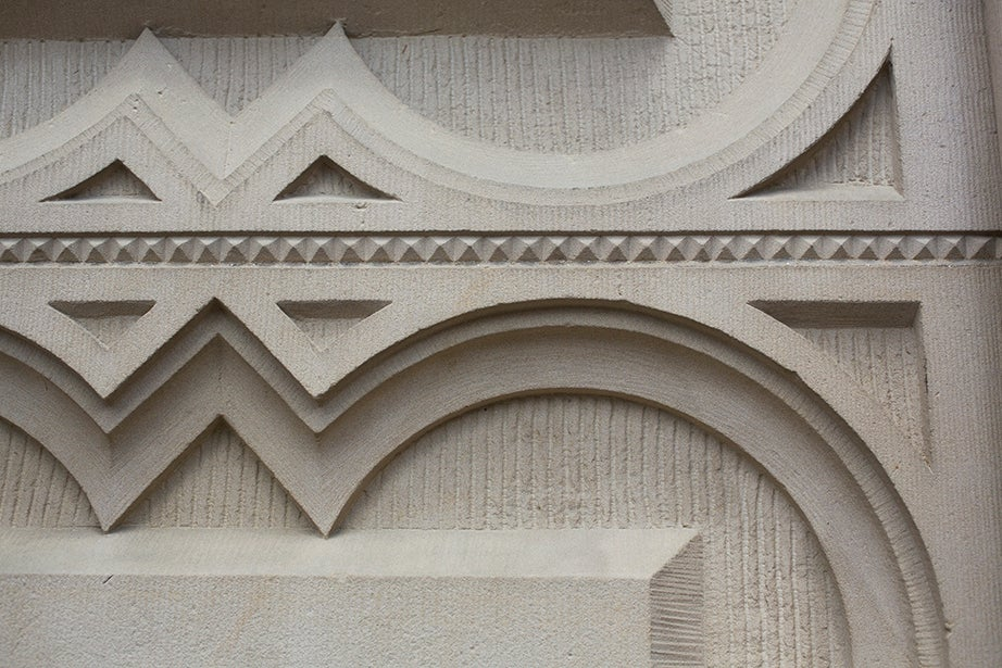 Graphic details decorate the walls of Memorial Hall.