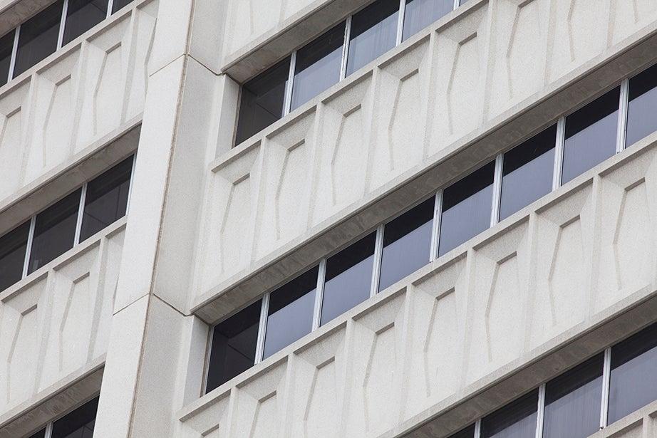 The modernist William James Hall designed by Minoru Yamasaki stretches 15 stories high.