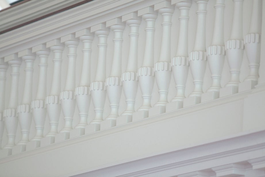 Spindles beautify the balcony of Memorial Church.