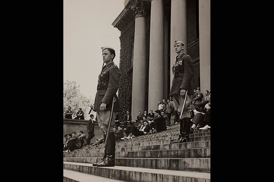 """Harvard University Archives image. Inscription reads, """"Mil Sci Review on steps on Widener, May 1941, WWII."""" Stephanie Mitchell/Harvard Staff Photographer"""
