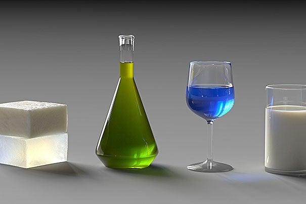 The subtleties in these computer-generated images of translucent materials are important. Texture, color, contrast, and sharpness combine to create a realistic image.