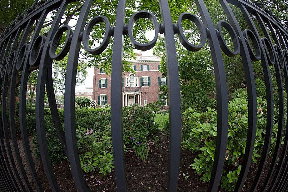 The Loeb House gate frames the garden. Kris Snibbe/Harvard Staff Photographer