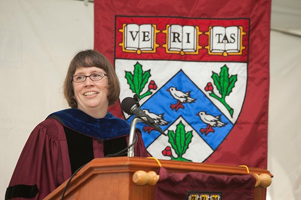 "Houghton Professor of the Practice of Ministry Studies Stephanie Paulsell delivered the keynote address, ""Devotion in the Study of Religion,"" at the Divinity School's convocation on Friday (photo 1). Dean David N. Hempton opened the service with his trademark wit: ""Welcome everyone on this beautiful, beautiful Irish day ..."" (photo 2). The faculty made their way from Andover Hall to the convocation tent (photo 3)."