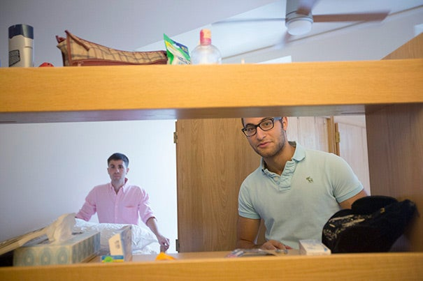 Fellow sophomores Jon Ascherman (right) and Joshua Grossman were moving furniture around in their double, applauding the spacious hallways (photo 1). Fola Sofela '16 was quickly making herself at home (photo 2), while Rose Whitcomb '16 gave the study alcove a test run (photo 3).