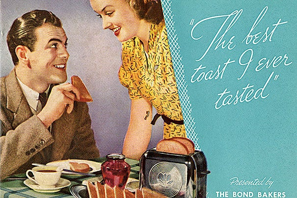 """Cultural stereotypes around food remain, according to Marilyn Morgan, the professor behind the Harvard Summer School course """"Gender, Food and Culture in American History."""" An early look: """"The best toast I ever tasted,"""" 1939 (photo 1); """"How to enjoy your 1951 General Electric refrigerator-food freezer combination,"""" (photo 2); students participating in a cooking class, ca. 1929-34 (photo 3)."""