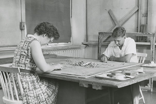 Elizabeth Jones and fellow conservation staff member John Washeba at work in the Fogg's conservation lab, c. 1950.