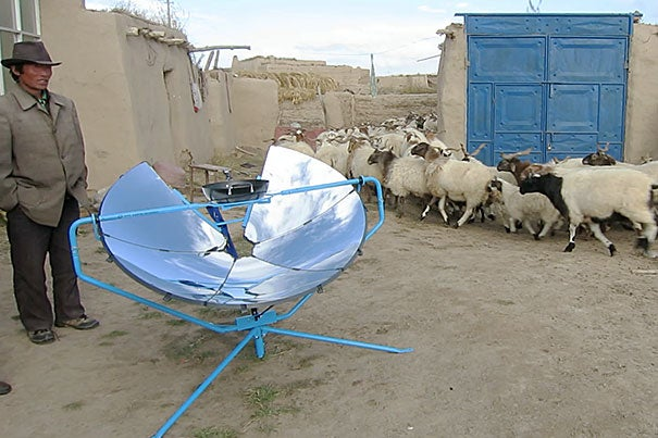 Catlin Powers was working in the Himalayas when the question about indoor air pollution vs. outdoor pollution was first raised. To reduce indoor air pollution, the Harvard School of Public Health graduate helped create SolSource, an emission-free solar cooker (photo 2). Currently Powers is working to harness the extra energy provided by SolSource for other uses, including heating buildings.