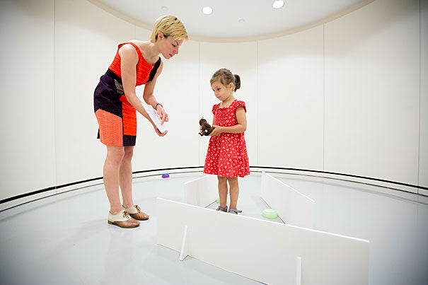 "Previous research has shown that young children and animals use geometric information in similar ways — to navigate environment and to recognize shapes. Harvard graduate student Moira Dillon worked with children of varying ages, including 4-year-old Helga Boros, to investigate her research. ""If they were presented with a room that only had sides, they used the distance information to navigate, and when they were presented with a room that only had corners, they used the angle information they use to recognize shapes."""