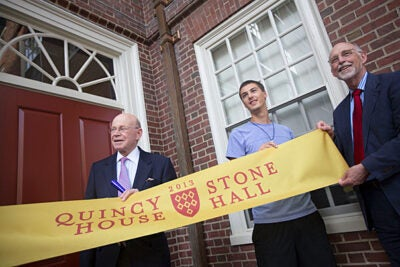 Bob Beal '63 (from left), Quincy House resident Landen Straub, and interim Dean of Harvard College Donald Pfister did a traditional ribbon cutting to mark the opening of Stone Hall (photos 1 and 2). Also present at the ceremony were former Harvard President Derek Bok (from left), Professor Henry Rosovsky, and FAS Dean Michael D. Smith (photo 3).