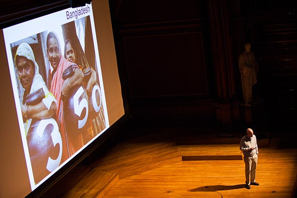 """""""My goal is to bring at least some of you out of retirement and into a life of climate-change activism,"""" said Bill McKibben, who delivered the annual Robert C. Cobb Sr. Memorial Lecture, sponsored by the Harvard Institute for Learning in Retirement."""