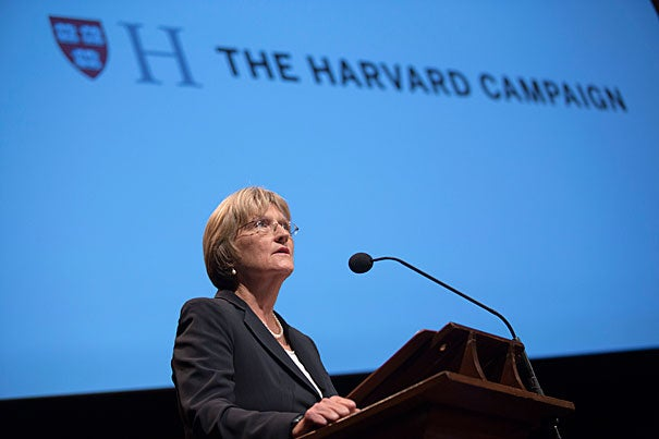 """For us, for this campaign, the real triumph will lie in our ability to rival the efforts and the commitment of those who have bequeathed this extraordinary institution to us, and to strengthen it for those who will follow,"" said President Drew Faust at the launch of The Harvard Campaign on Saturday in Sanders Theatre (photo 1). Prior to Faust's appearance, David M. Rubenstein (left), co-chair of the campaign, set the stage with a conversation with Bill Gates (photo 2). Earlier in the day (photo 3), ""The Future of Knowledge"" was explored by moderator Jonathan Zittrain (from left) and professors Rebecca Henderson and Peter Sorger, among others."