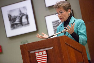 Christiana Figueres, executive secretary of the U.N. Framework Convention on Climate Change, brought a hopeful message to the Harvard Kennedy School, citing new technology as part of the solution. Massachusetts alone, she said, has 5,500 companies employing 80,000 people already working in clean energy.