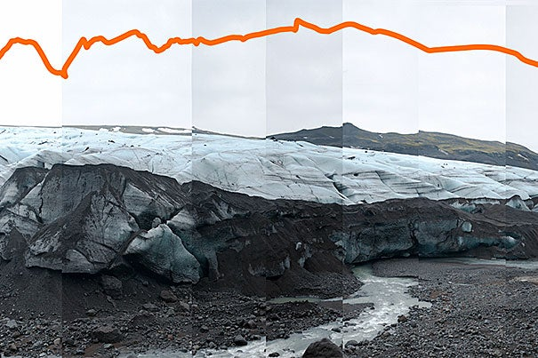 The Solheim Glacier in Iceland in February 2009. The line represents how much the glacier changed in nearly three years. Photo by James Balog/Extreme Ice Survey
