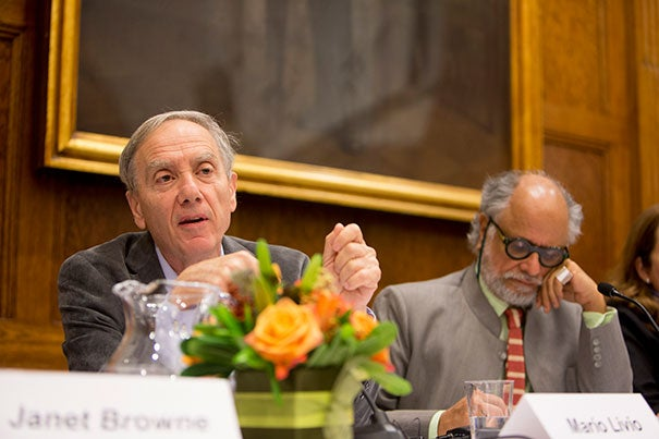 """""""Science is presented as a pure success story, as if it is a direct march to the truth,"""" said Mario Livio (left), pictured during a talk moderated by Homi Bhabha, director of the Mahindra Humanities Center. """"Nothing can be further from the truth."""""""