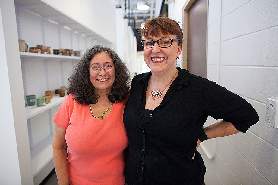 Director of Studio Operations and Outreach Shawn Panepinto (left) and Director of Education Kathryn King are pictured in the new ceramics studio.