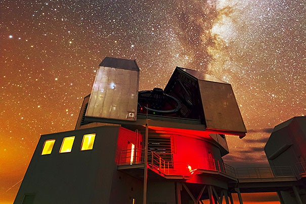 "The Magellan telescope (pictured) christened ""Clay"" after astronomer Landon Clay, a Harvard graduate and philanthropist, is one of the two large Magellan telescopes at the Las Campanas Observatory in Chile."