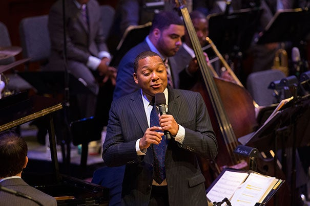 "Wynton Marsalis' penultimate lecture and performance in his series ""Setting the Communal Table: The Evolution of the Jazz Orchestra"" centered on jazz's exploding popularity from the 1920s to the early '40s. He performed with the help of pianist Dan Nimmer (photo 2) and an orchestra (photo 3)."