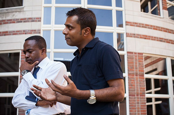 The Mason Fellowship will allow Luther Castillo (left), a medical doctor who established a community hospital in one of the poorest parts of Honduras, to take his work to the next level. The same is true for Mason Fellow Irfan Alam, who organized thousands of the estimated 10 million cycle rickshaw pullers in his native India.