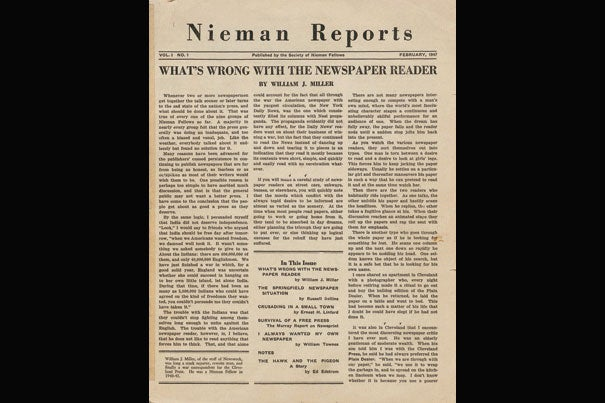 "The Nieman Foundation celebrates 75 years. Looking back, a 1947 issue of Nieman Reports asks: ""What's wrong with the newspaper reader"" (photo 1); the 1939 class of Nieman Fellows (photo 2);  and Nieman curator Ann Marie Lipinski (photo 3)."