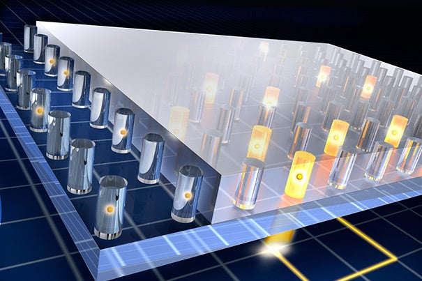 A new NSF grant to the Harvard School of Engineering and Applied Sciences will advance the study of integrated quantum materials. One of the directions for the center's research will involve nitrogen-vacancy centers in diamond, which can store information that is written and read out using light, as shown in this illustration.