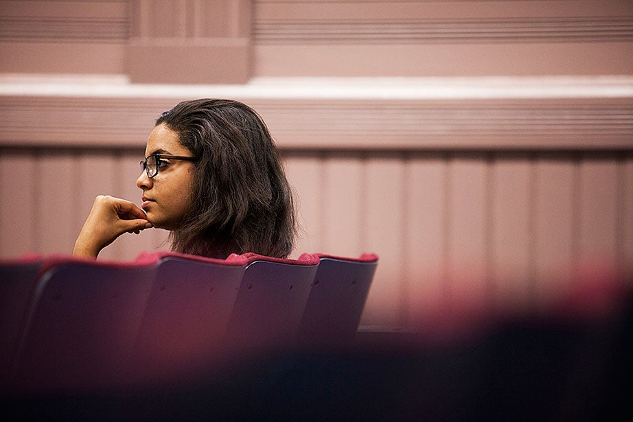 Cary Williams '16 pays close attention to Vincent Brown's lecture during class. Stephanie Mitchell/Harvard Staff Photographer