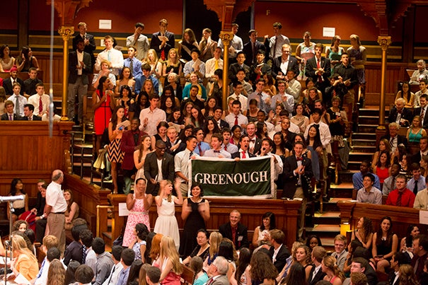 Freshman residents of Greenough show their excitement as Harvard University welcomed students of the Class of 2017 to campus at this year's Freshman Convocation held in Sanders Theatre and Memorial Church.