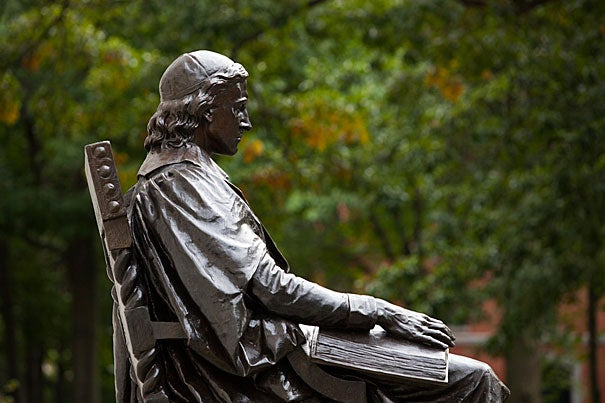 """""""What else do you do when you come to Harvard Yard? Everybody you know has a picture in front of the statue,"""" said 300th Anniversary University Professor Laurel Ulrich, who is looking closely at the John Harvard Statue in her class """"Tangible Things: Harvard Collections in World History."""""""