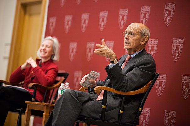 """""""It's a very, very interesting job,"""" said Associate Justice Stephen Breyer in a chat with Harvard Law School Dean Martha Minow on Tuesday. """"But more than that, it matters to people, and that is a tremendous source of satisfaction if you can continuously recognize that and just do your best."""""""