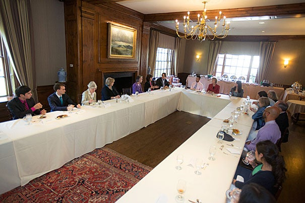 Harvard President Drew Faust addressed the recipients of the Presidential Public Service Fellowships at the Faculty Club. Among the fellows in attendance were Jimmy Biblarz '14, Annika Nielsen '15, Matthew Basilico, HMS/GSAS, joint M.D./Ph.D. candidate, Jalem Towler '15, Ashley Pletz, HKS, M.P.P. '14, Pierre Berastain, HDS, M.Div. candidate, Curtis Lahaie '15, and Theo Miller, GSAS, Ph.D. candidate.
