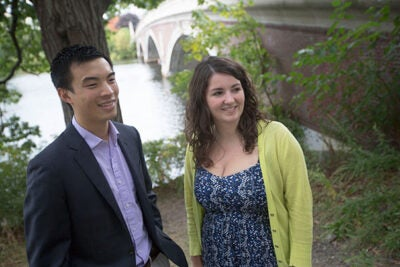 Roland Yang (left) of Kirkland House and Kathryn Walsh of Adams House have been named this year's Aloian Scholars. Both will be honored by the Harvard Alumni Association on Oct. 24.