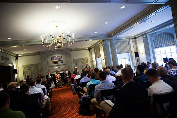 """President Drew Faust welcomed veterans and active-duty service members studying at Harvard during an event at the Faculty Club (photo 1). """"This is a magic opportunity here,""""  said Gen. Stanley McChrystal (photo 2), who was joined by Kevin Kit Parker (from left), Kevin Sharer, and Meghan O'Sullivan (photo 3)."""
