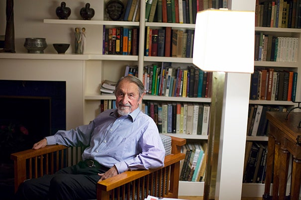 Harvard Professor Emeritus Martin Karplus is one of three winners of this year's Nobel Prize in chemistry. He is pictured at home in Cambridge, Mass., moments after hearing the news.