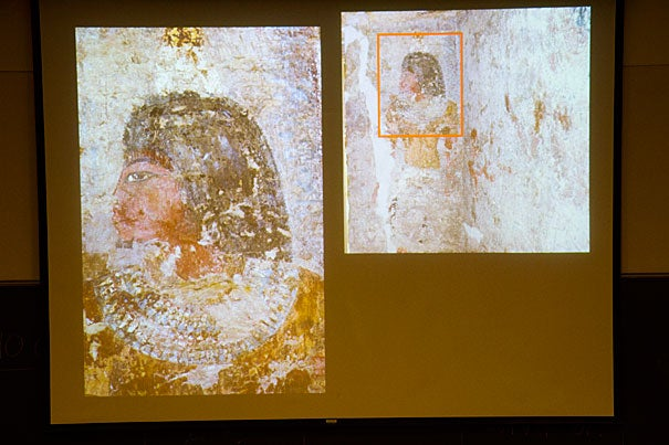 "It's believed that Thutmose (photo 1) was the artist behind the bust of Queen Nefertiti. This research is a testament to the academic interest of French Egyptologist Alain Zivie, who came to Harvard to present ""Discovering the Egyptian Queen Nefertiti's Artist: The Tomb of Thutmose at Saqqara"" (photo 2). Zivie discovered Thutmose's presumptive tomb in 1996, which is depicted in a rendering (photo 3)."