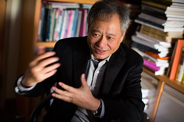 """I feel very fortunate I get to make these movies. I don't create them, I participate in them,"" said two-time Academy Award winner Ang Lee in a talk at the Sackler Museum that kicked off a weekend screening of his films at the Harvard Film Archive. ""I am more like a vessel than a creator. … I love this … I also suffer for it,"" he said. Lee was joined by his longtime collaborator James Schamus (photo 2, right)."