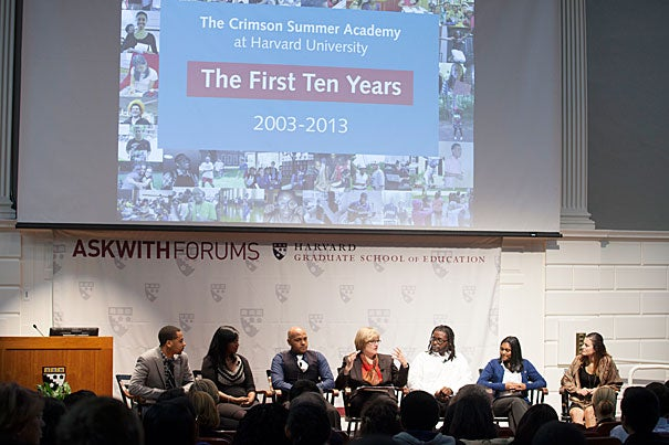 The Crimson Summer Academy marked its 10th anniversary during a special panel discussion at the Askwith Forum, which brought together CSA graduates (photo 1),  CSA founder Clayton Spencer (photo 2), and CSA Director Maxine Rodburg (photo 3).