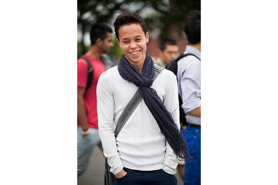 "Sometimes your girlfriend's scarf is just the thing to elevate a simple, white top. ""She left this blue scarf in my dorm room and I wanted to coordinate something with it,"" said Garrett Lam '16."