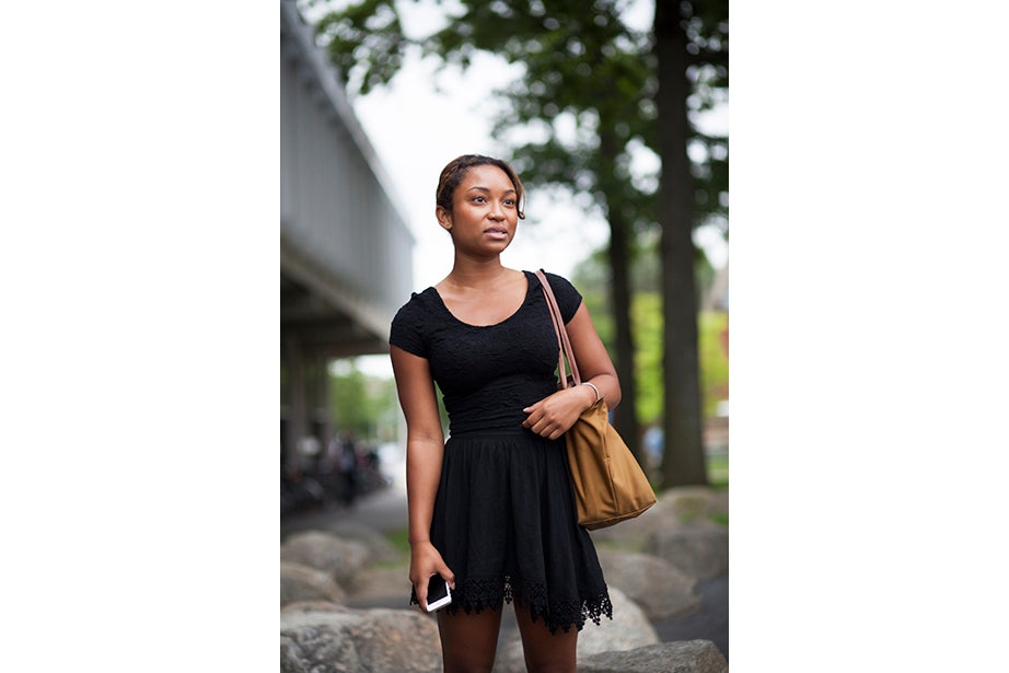 """""""I was kind of in a rush today and I wanted to wear a skirt or dress when I still could,"""" said Summer Carter '16. """"My style is a little trendy but classic — I have a lot of black and white in my wardrobe."""""""