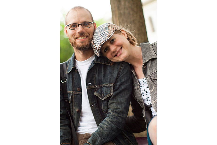 "Denim jacket lovers Zach Zenk and Danielle Bochneak drove from Brattleboro, Vt., to hat-shop in Cambridge. ""People are more put-together here,"" said Zenk."