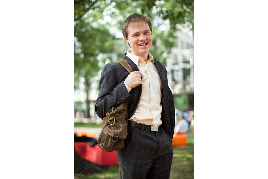 """""""I'm naturally very cold so this hot weather is ideal right now,"""" said Sean Weller '17 of Boulder, Colo. """"I always try to make up an excuse to dress up. In high school I wore suits two to three days out of the week. I had the reputation of 'that kid who wears suits.'"""""""
