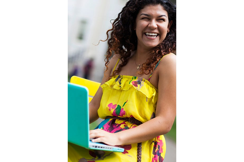 """""""I wanted to take advantage of the last warm days and I wanted to feel summery today,"""" said Mayra Espinoza-Martinez '15. """"Most of my clothes are summery because I'm from California, but I've bought a bunch of fall pieces to bridge between there and the East Coast."""""""