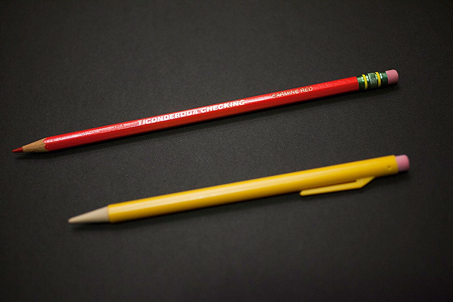 From the John Updike Archive, a Carmine Red pencil (above) and a Ticonderoga Checking mechanical pencil. (MS Am 1793, Houghton Library, Harvard University)